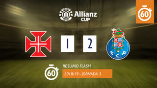 Allianz Cup (Fase 3 - Jornada 3): Resumo Flash Os Belenenses 1-2 FC Porto