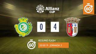 Allianz Cup (Fase 3 - Jornada 3): Resumo Flash Vitória FC 0-4 SC Braga