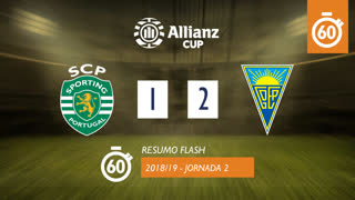 Allianz Cup (Fase 3 - Jornada 2): Resumo Flash Sporting CP 1-2 Estoril Praia