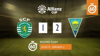 Taça da Liga (Fase 3 - Jornada 2): Resumo Flash Sporting CP 1-2 Estoril Praia