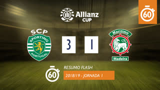 Allianz Cup (Fase 3 - Jornada 1): Resumo Flash Sporting CP 3-1 Marítimo M.
