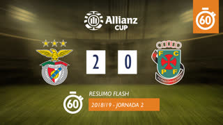 Allianz Cup (Fase 3 - Jornada 2): Resumo Flash SL Benfica 2-0 FC P.Ferreira