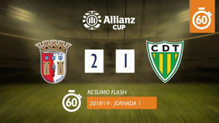 Allianz Cup (Fase 3 - Jornada 1): Resumo Flash SC Braga 2-1 CD Tondela