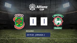 Taça da Liga (Fase 3 - Jornada 2): Resumo FC P.Ferreira 1-1 Marítimo M.