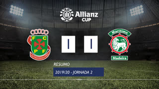 Allianz Cup (Fase 3 - Jornada 2): Resumo FC P.Ferreira 1-1 Marítimo M.