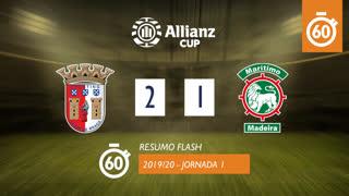 Allianz Cup (Fase 3 - Jornada 1): Resumo Flash SC Braga 2-1 Marítimo M.