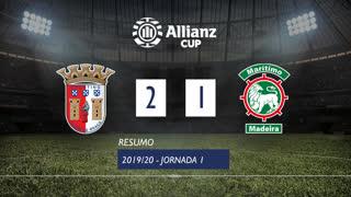 Allianz Cup (Fase 3 - Jornada 1): Resumo SC Braga 2-1 Marítimo M.