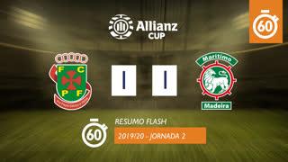 Allianz Cup (Fase 3 - Jornada 2): Resumo Flash FC P.Ferreira 1-1 Marítimo M.