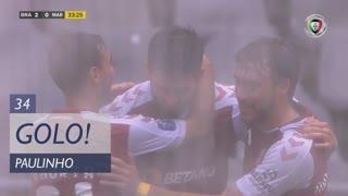 GOLO! SC Braga, Paulinho aos 34', SC Braga 2-0 Marítimo M.