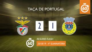 Taça de Portugal (4ª Eliminatória): Resumo Flash SL Benfica 2-1 FC Arouca