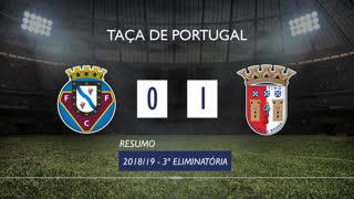 Taça de Portugal (3ª Eliminatória): Resumo Felgueiras 1932 0-1 SC Braga