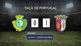Taça de Portugal (Oitavos de Final): Resumo Vitória FC 0-1 SC Braga
